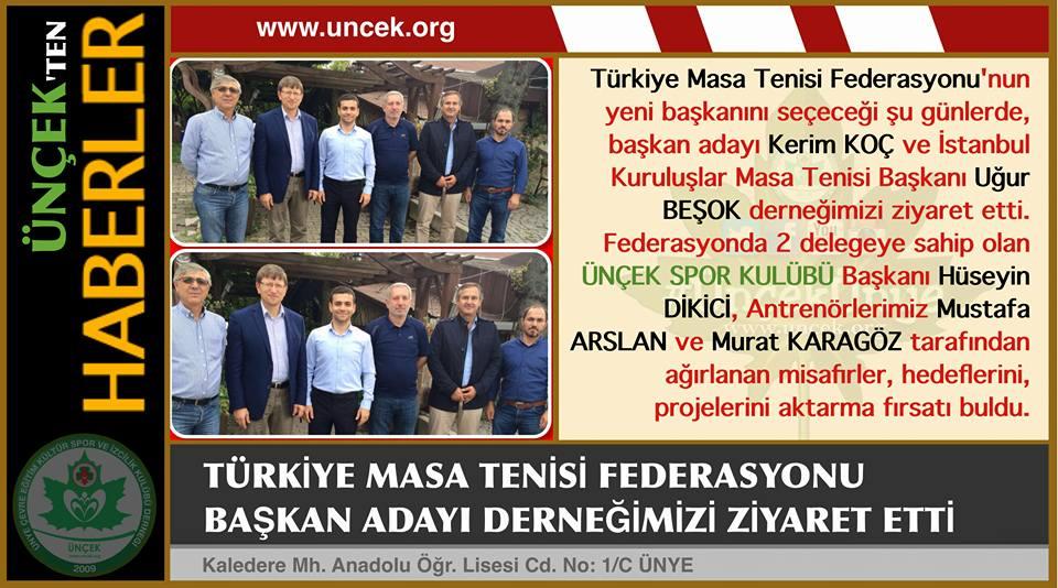 Türkiye Masa Tenisi Federasyonu'ndan Ünçek Ziyareti